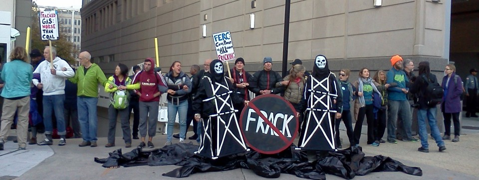 Oh no! Massive fracked gas oil spill at FERC HQ in D.C.! Protests too! At Beyond Extreme Energy week, November 2014.