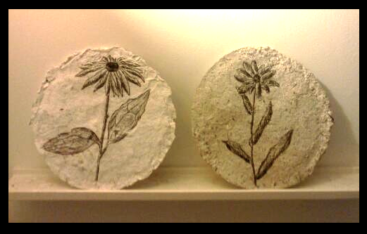Disappearing Drawings: Native Perennial Seed Paper Discs: Upcycle/Shape/Draw/Release/Build Biodiversity in 2015