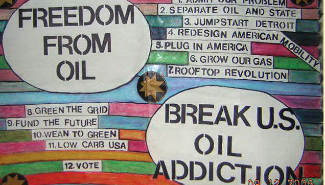 Fossil Fuel Free Banner, made at Camp Democracy, D.C., 2005